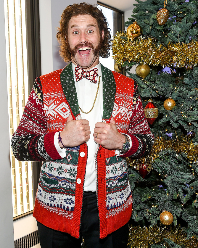 Celebrities In Ugly Christmas Sweaters 2140755926